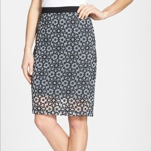 Halogen Pencil Skirt with a Sheer Overlay
